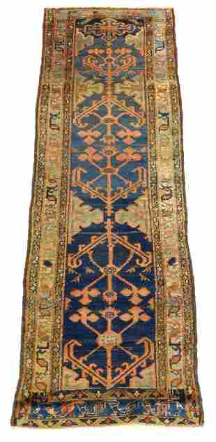 "RUG: Antique Persian runner, 8'3"" x 2'8"", royal blue"