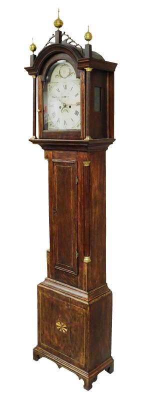 CLOCK: Tall clock, attributed maker Ivory Hall of
