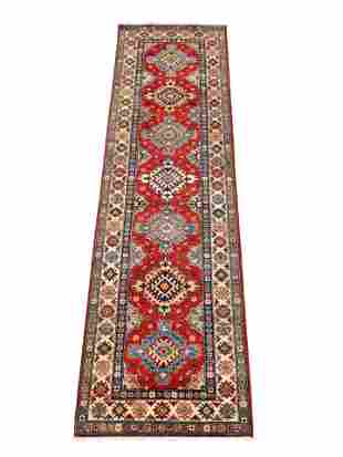 """RUG: Uzbek Kazak runner, 2' 8"""" x 9' 5"""", red field,"""