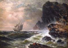 19th C. oil on relined canvas, stormy seascape with