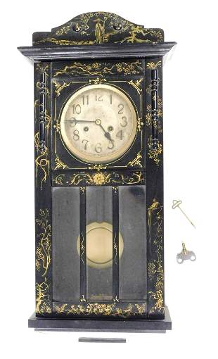 CLOCK: 1920s wall clock, black lacquer and gilt