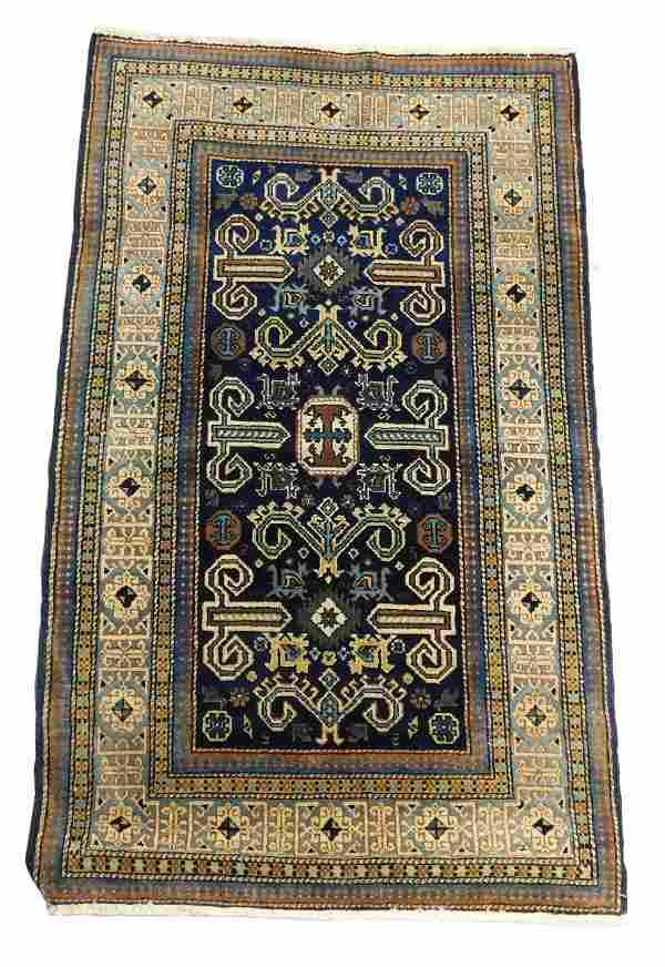 """RUG: Antique Persian Caucasian design, 4'9"""" x 2'10"""","""
