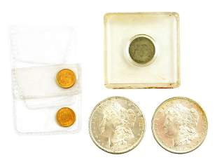 COINS: Lot of 5 coins. Includes: Two 1881-S silver