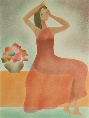 Claire Astaix (France) b. 1953 Femme à la robe