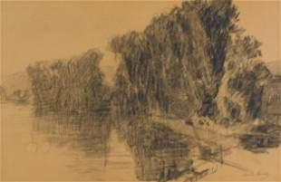 Albert Lebourg (France) 1849-1928. Arbres au bord de la