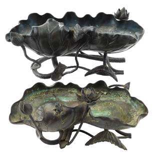 ASIAN: Two Asian/Chinese lotus form planters,