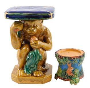 Majolica, two polychrome glazed pedestals, one modeled