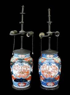 Pair of Imari pattern porcelain jars converted and