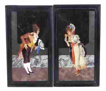 Pair of Pietra Dura plaques of man and woman in 18th C.
