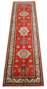 "RUG: Uzbek Kazak runner 2' 8"" x 10', hand-made, wool,"