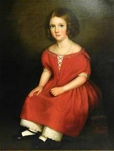 "American School, ""Portrait of Girl in Red Dress"", c."