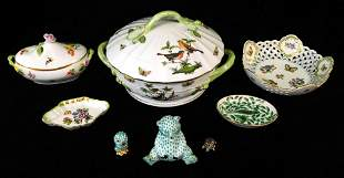 """Herend porcelain, eight pieces, including: """"Rothschild"""