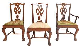 Three early New England chairs, 18th C., cherry, with
