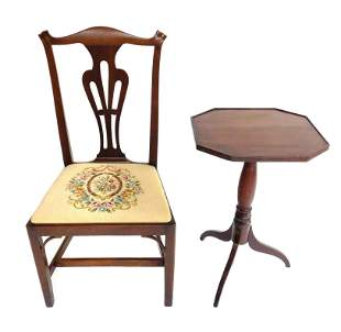 American side chair and candlestand, Hepplewhite