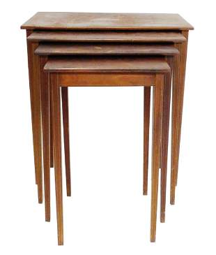 Nest of four marquetry top stands, late 19th/ early
