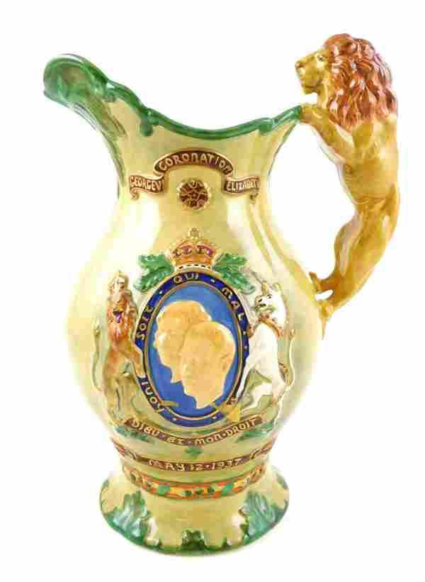 Crown Devon Fieldings, ceramic musical coronation jug,