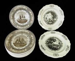 Wedgwood, seventeen brown/ black transferware plates
