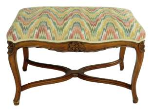 French style upholstered bench, late 19th/ early 20th