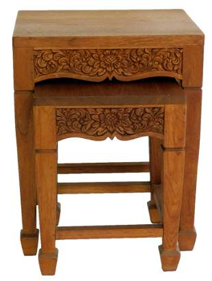 ASIAN: Pair of Indonesian nesting tables, heavily