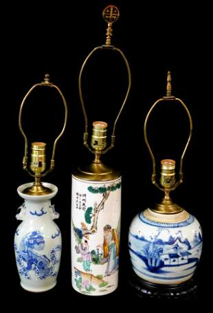 ASIAN: Three Chinese porcelain vases mounted as lamps,