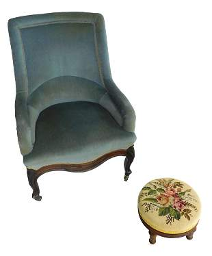 Victorian slipper chair with later blue upholstery