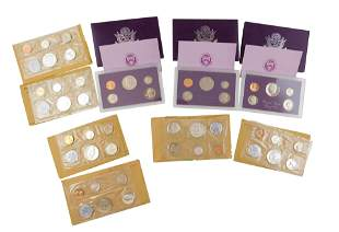 COINS: Lot of 10 US Proof sets: one 1955 (without an