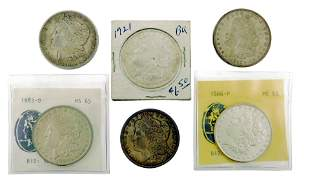 COINS: Lot of six US Morgan Silver dollars. Common