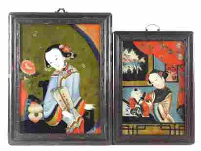 ASIAN: Two Chinese eglomise portraits, 19th C.: one