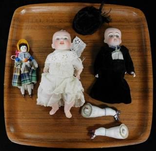 "Three Dolls: 8"" Kestner Character baby #152, Germany,"