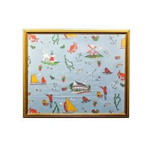 Framed Nantucket Textile by Tony Sarg