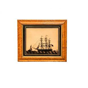 Reverse Painting on Glass Royal Navy Ship Silhouette