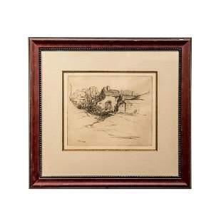 Framed Etching of a Cottage by Kleber Hall