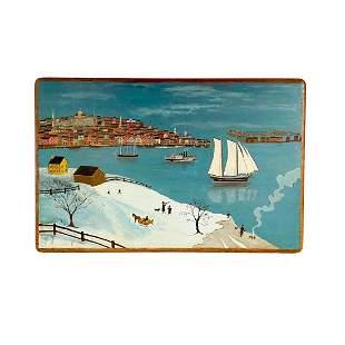 Primitive Harbor Painting