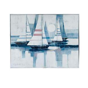 Large Painting of Boats in Harbor by Lee Reynolds