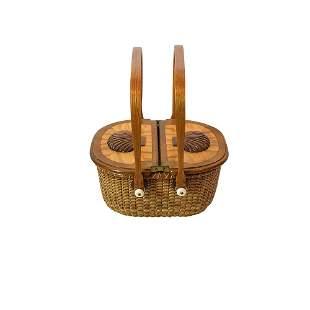 Oval Double Lidded Nantucket Basket by Harry Hilbert