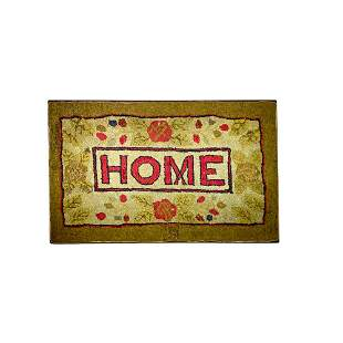 """Floral Hooked Rug with Central Cartouche reading """"Home"""""""