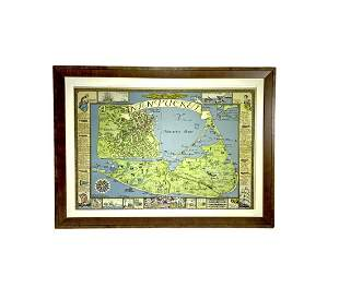 Vintage Pictorial Map of Nantucket, Ruth H. Sutton