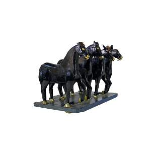 Folk Art Carved and Painted Team of Draft Horses