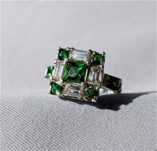 Tsavorite and Diamond Platinum Ring