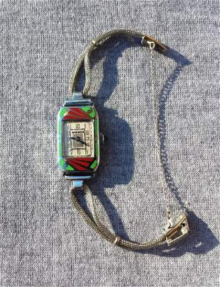 Deco Style Watch with Design on Face Womans