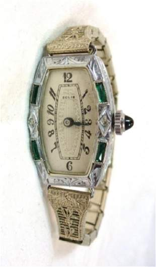Deco Style Watch with Black Hands Womans