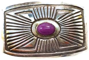 Sterling Silver and Sugalite Belt Buckle