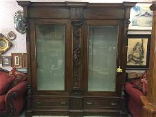 19th c. French Double Glass Door Bookcase