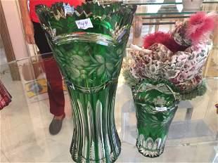 2-Bohemian Green Vase