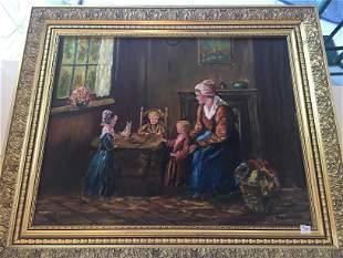 Oil/Canvas'Mother w/Children'