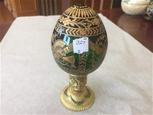 Faberge Crystal Egg on Stand