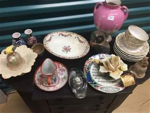 Box Lot, plates/vases/owl/