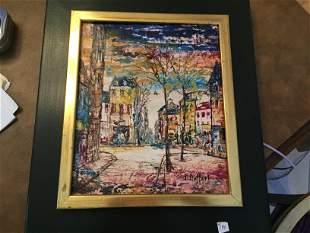 Oil/Canvas'City Scape' J.Duffort