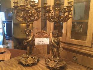 Pair Bronze 9-arm Candelabras