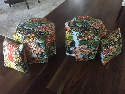 Pair Ottomans 2-Pillows